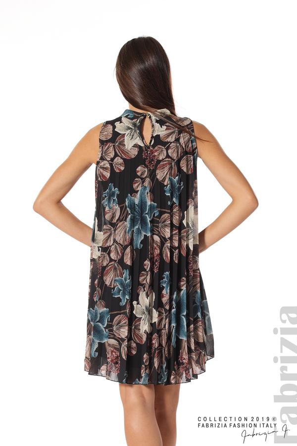 Дамска плисирана рокля на цветя черен 4 fabrizia