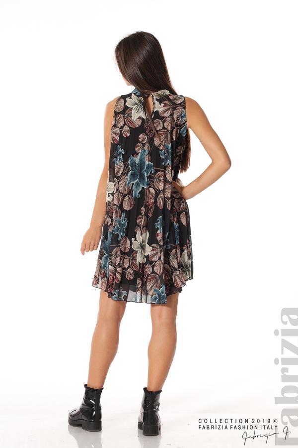 Дамска плисирана рокля на цветя черен 5 fabrizia