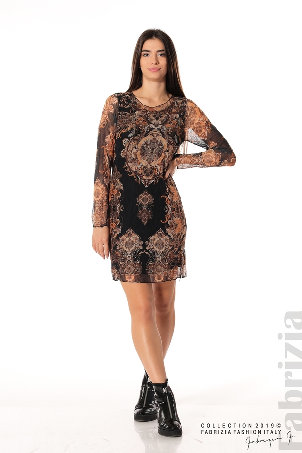 Къса дамска рокля с ефектен принт черен 3 fabrizia
