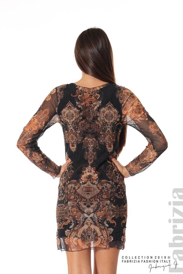 Къса дамска рокля с ефектен принт черен 5 fabrizia