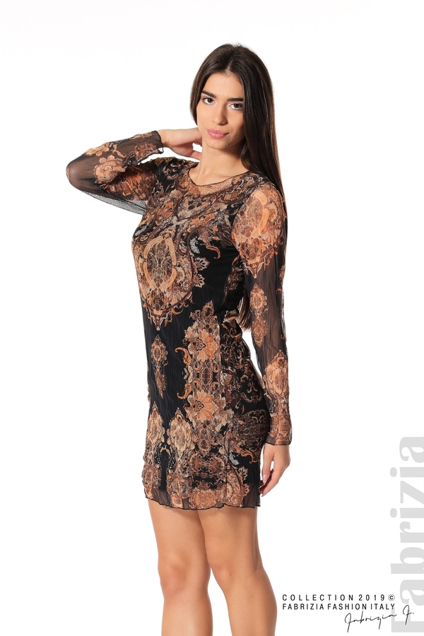 Къса дамска рокля с ефектен принт черен 1 fabrizia