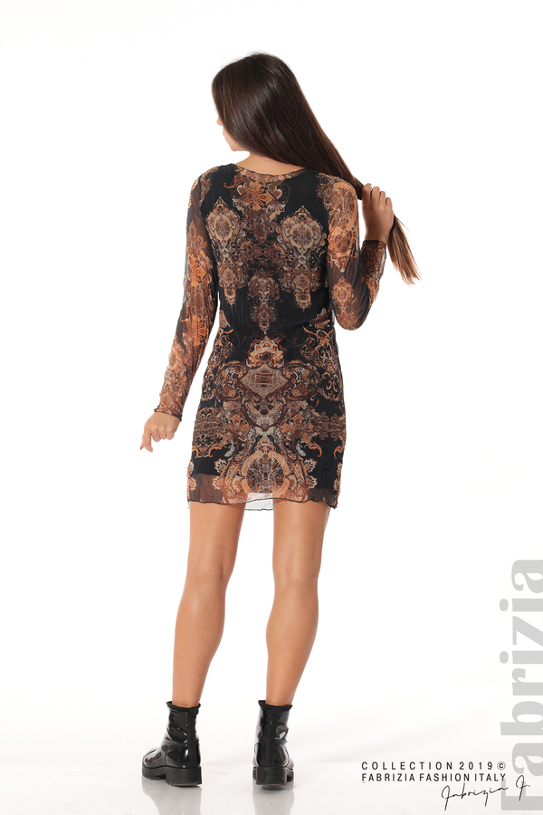 Къса дамска рокля с ефектен принт черен 4 fabrizia