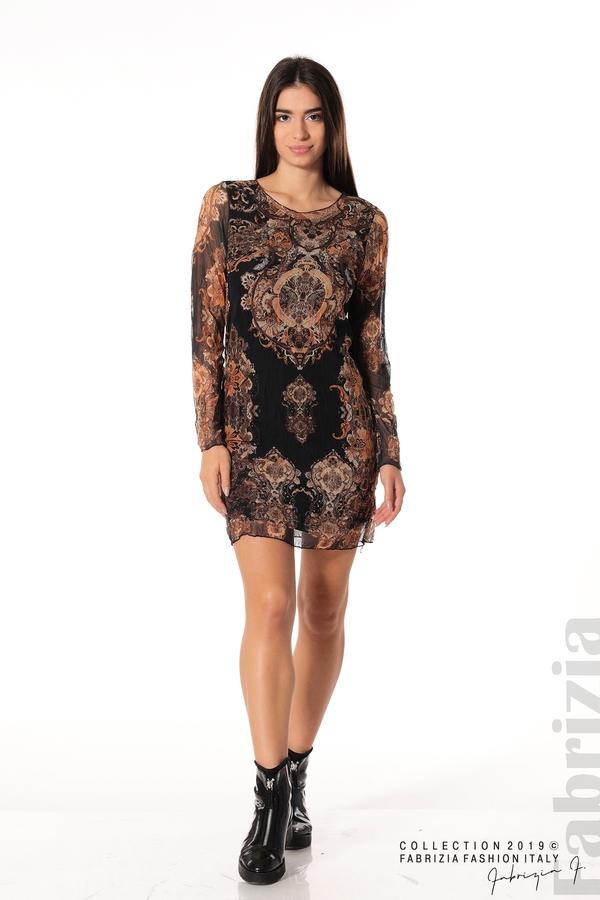 Къса дамска рокля с ефектен принт черен 2 fabrizia