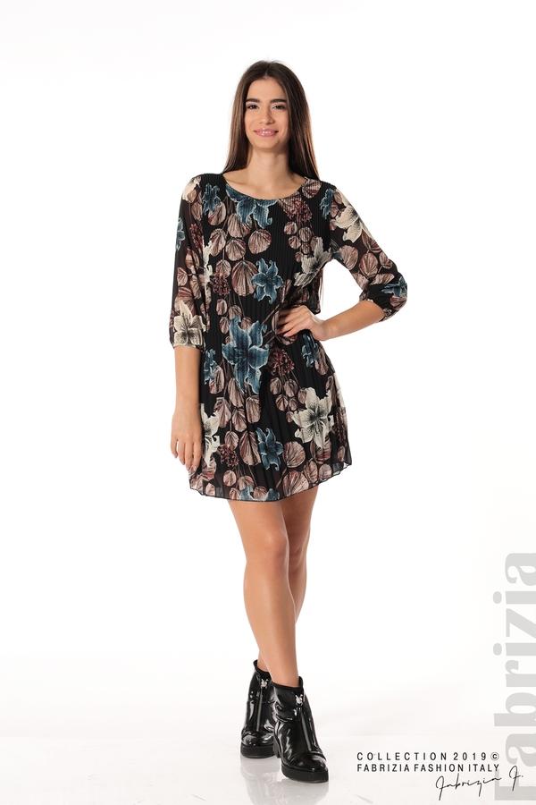 Плисирана къса дамска рокля черен 3 fabrizia