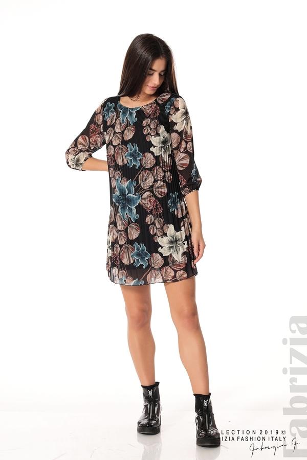 Плисирана къса дамска рокля черен 2 fabrizia