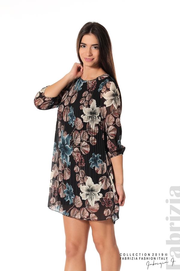 Плисирана къса дамска рокля черен 1 fabrizia