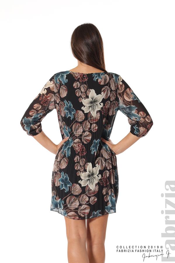 Плисирана къса дамска рокля черен 5 fabrizia