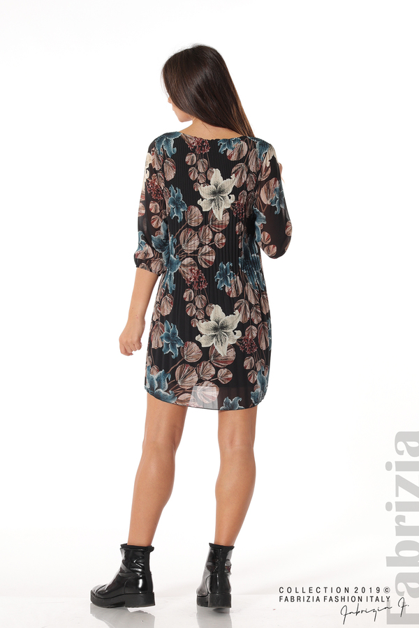 Плисирана къса дамска рокля черен 4 fabrizia