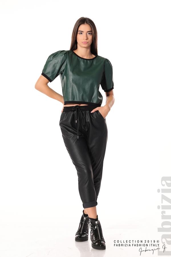 Дамски панталон от еко кожа черен 1 fabrizia