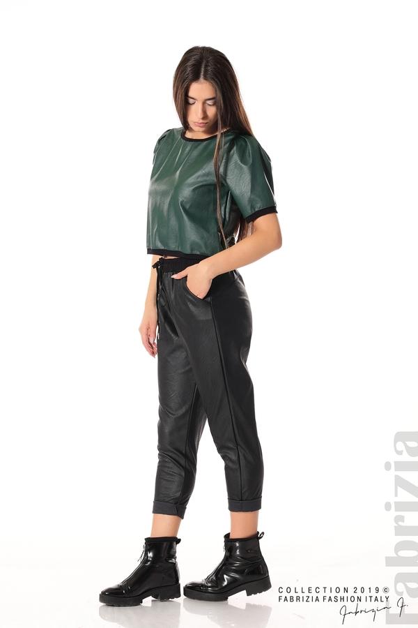 Дамски панталон от еко кожа черен 2  fabrizia
