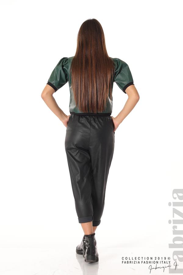 Дамски панталон от еко кожа черен 3 fabrizia