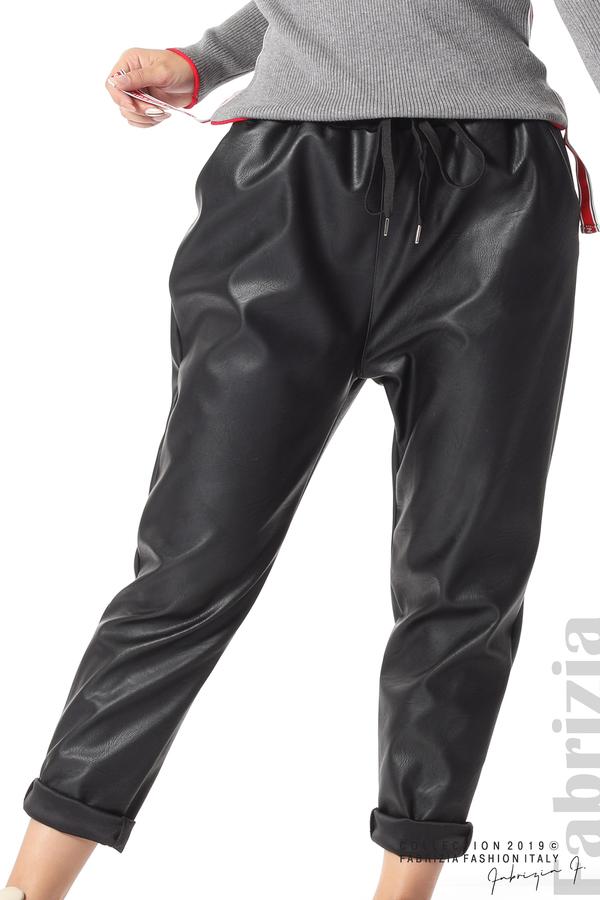 Дамски панталон от еко кожа черен 6 fabrizia