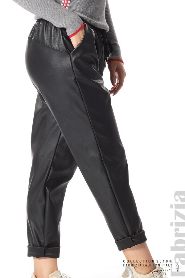 Дамски панталон от еко кожа черен 8 fabrizia