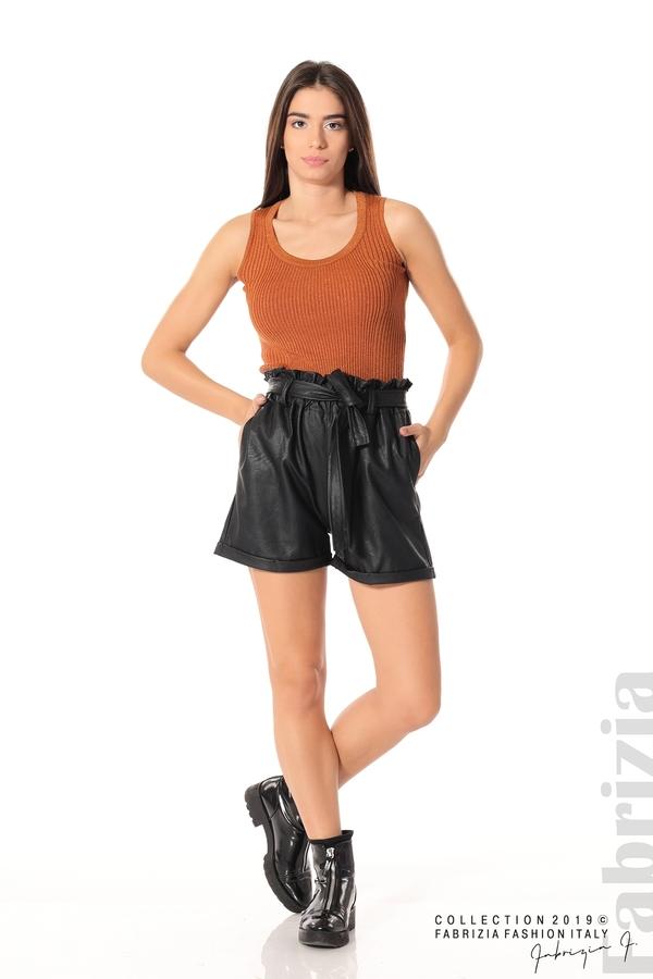Къс кожен панталон черен 1 fabrizia