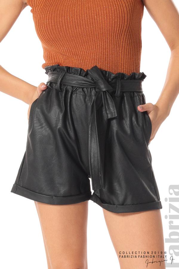 Къс кожен панталон черен 3 fabrizia