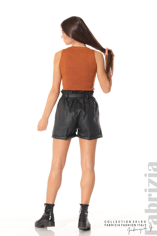 Къс кожен панталон черен 4 fabrizia