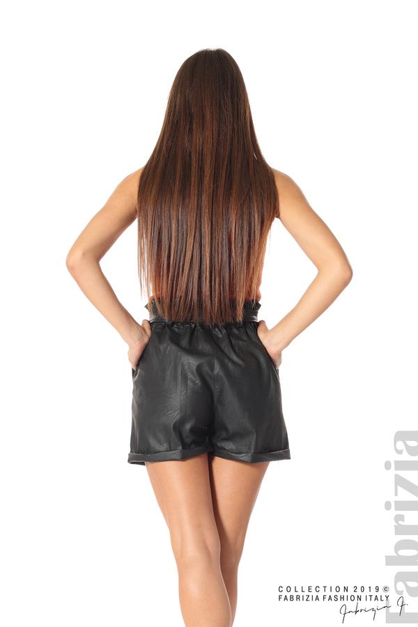 Къс кожен панталон черен 5 fabrizia