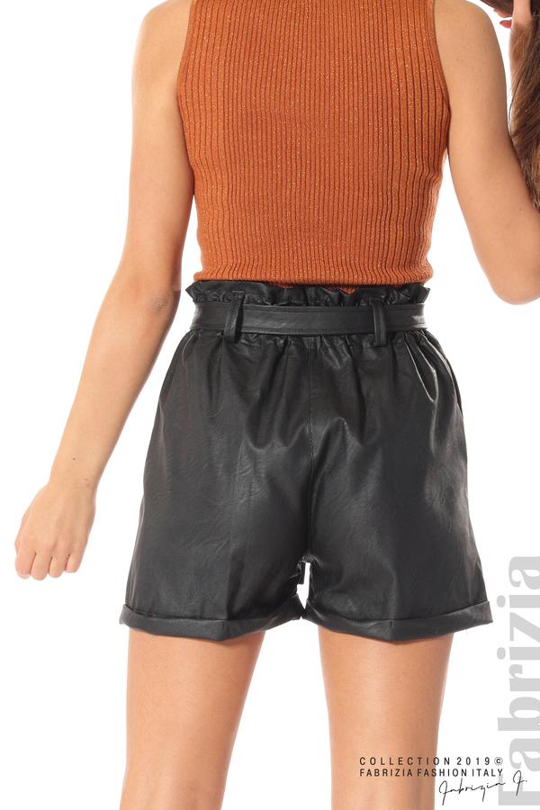 Къс кожен панталон черен 6 fabrizia