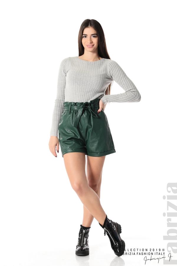 Къс кожен панталон зелен 1 fabrizia