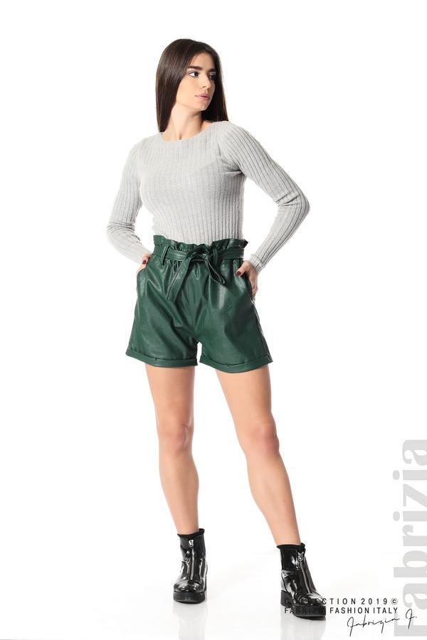 Къс кожен панталон зелен 3 fabrizia