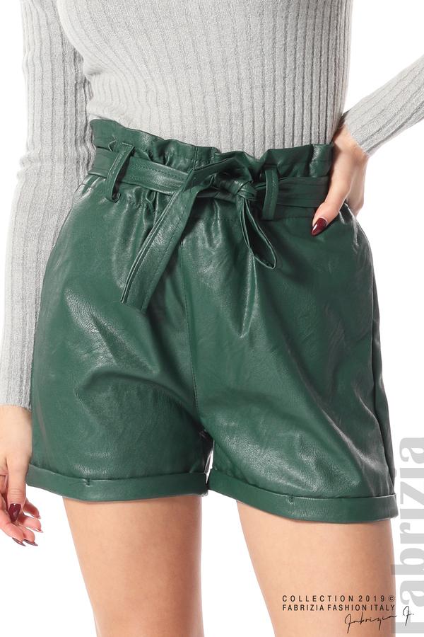 Къс кожен панталон зелен 4 fabrizia