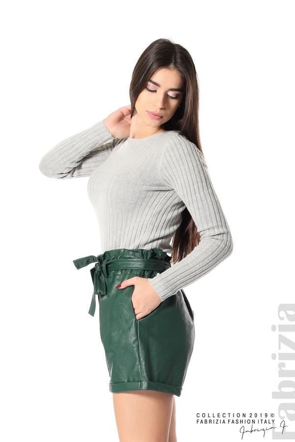 Къс кожен панталон зелен 2 fabrizia
