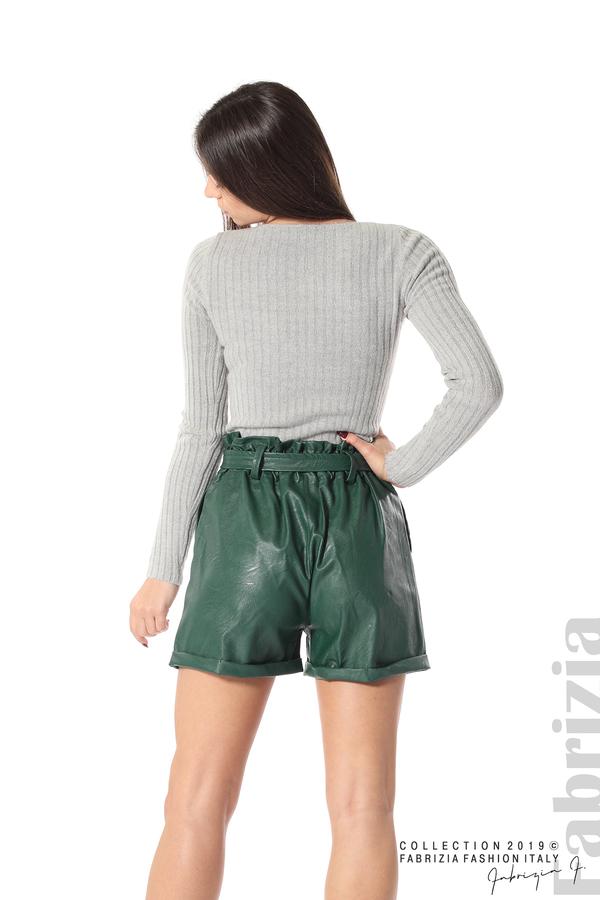 Къс кожен панталон зелен 6 fabrizia
