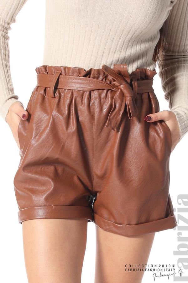 Къс кожен панталон кафяв 3 fabrizia