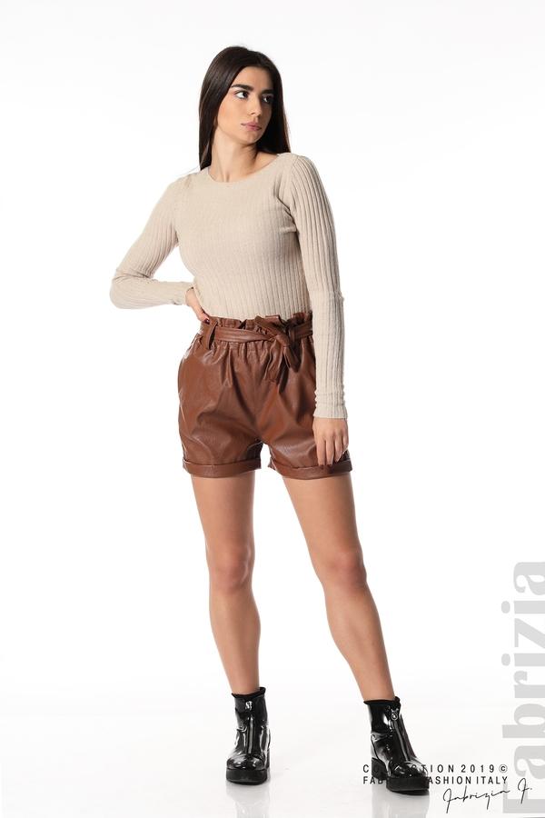 Къс кожен панталон кафяв 4 fabrizia