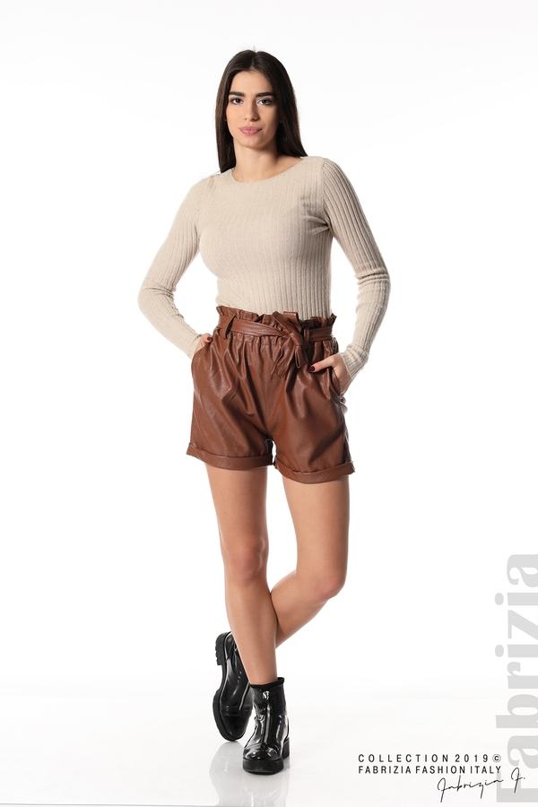 Къс кожен панталон кафяв1 fabrizia