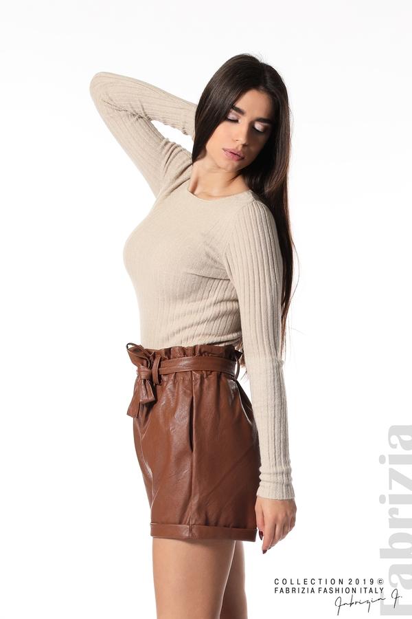 Къс кожен панталон кафяв 2  fabrizia