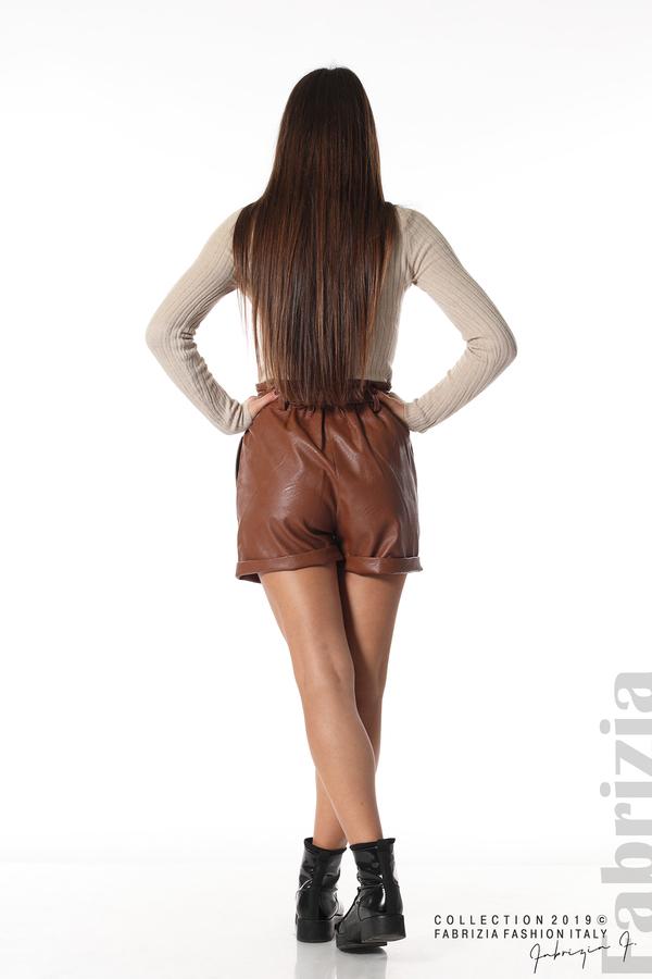 Къс кожен панталон кафяв 5 fabrizia