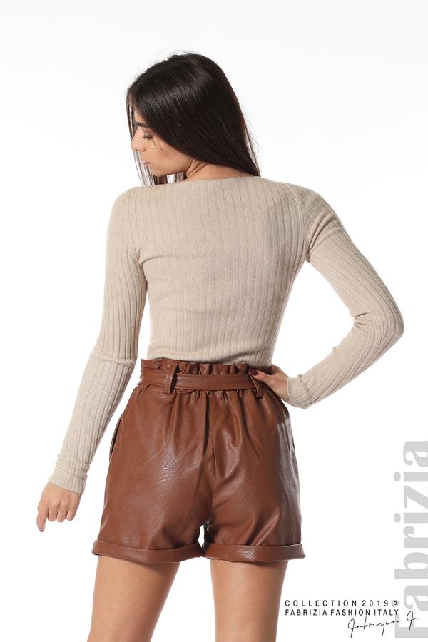 Къс кожен панталон кафяв 6 fabrizia