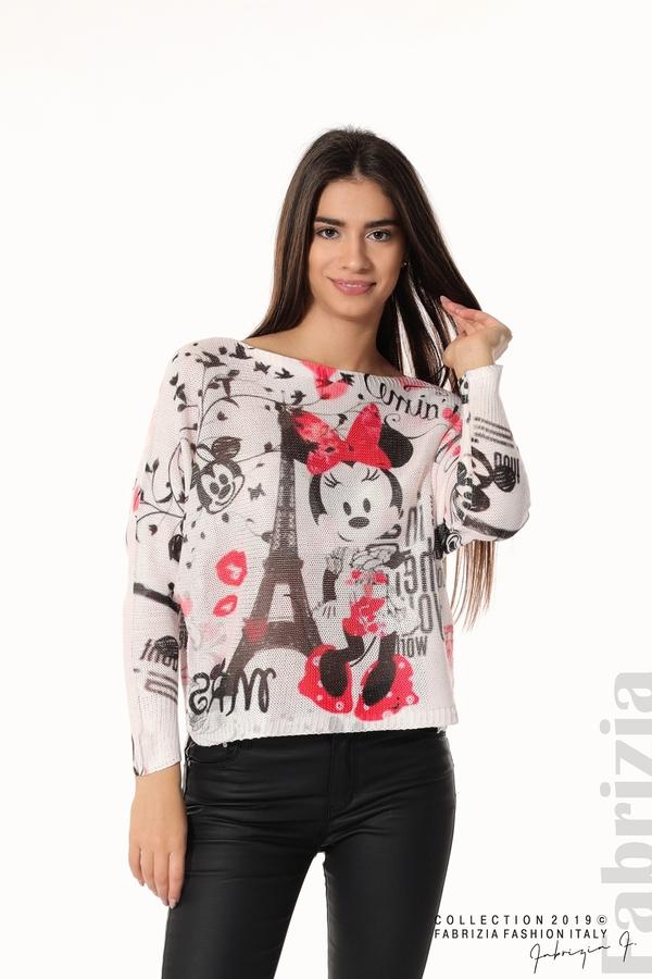 Дамска блуза с Мини Маус пудра 2 fabrizia