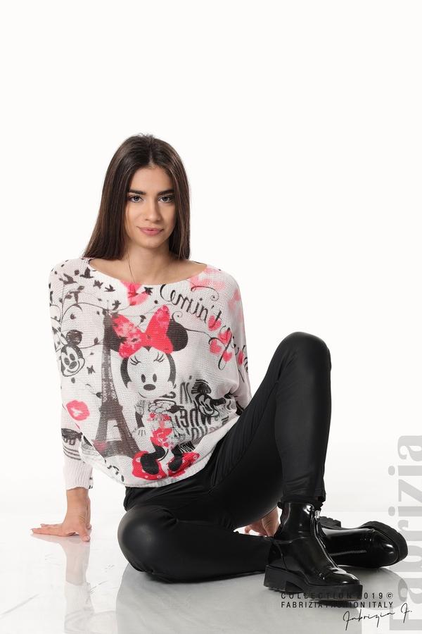 Дамска блуза с Мини Маус пудра 6 fabrizia