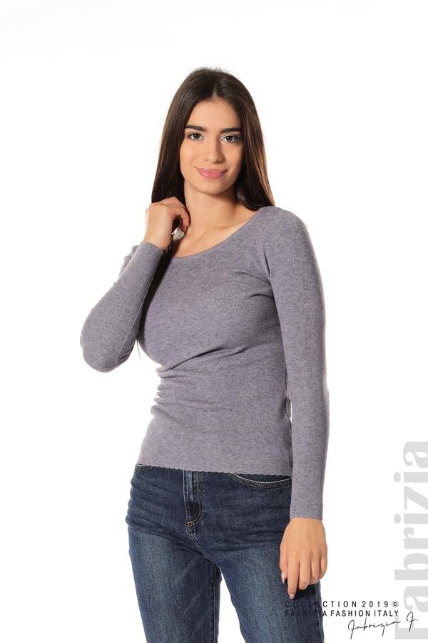 Дамска блуза с обло деколте виолетов 1 fabrizia