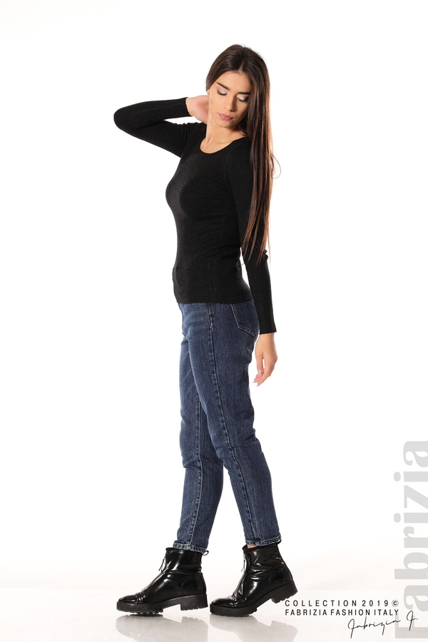 Дамска блуза с обло деколте черен 3 fabrizia