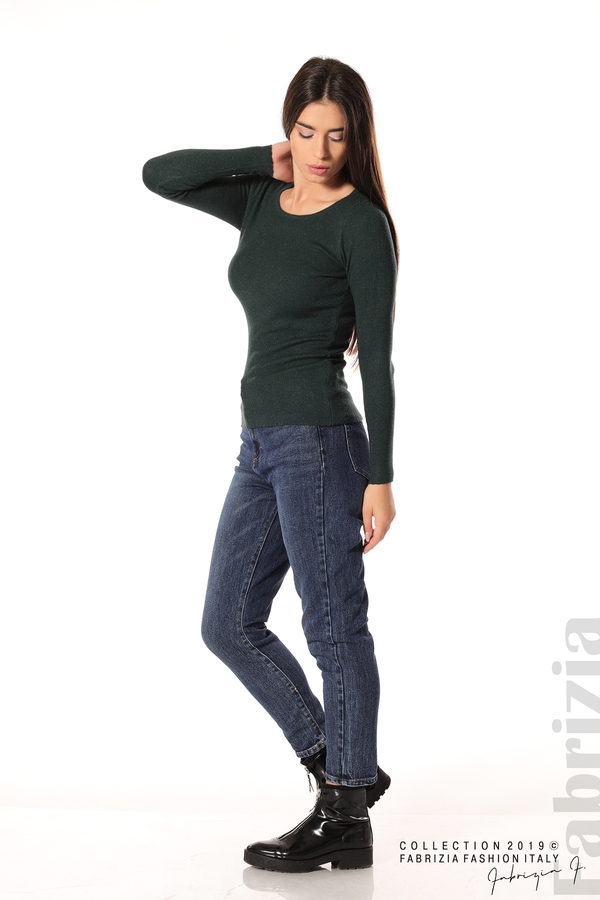 Дамска блуза с обло деколте т.зелен 3 fabrizia
