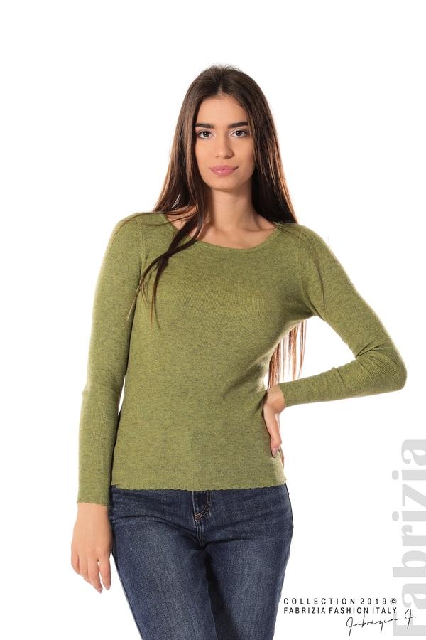 Дамска блуза с обло деколте зелен 1 fabrizia