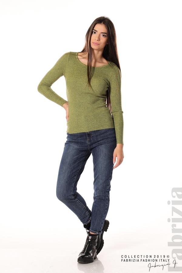 Дамска блуза с обло деколте зелен 2 fabrizia