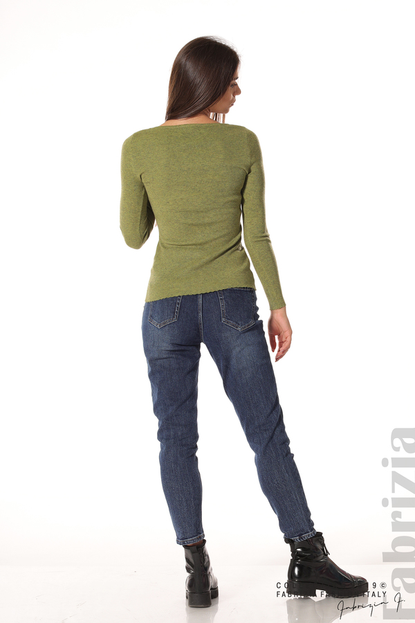 Дамска блуза с обло деколте зелен 4 fabrizia