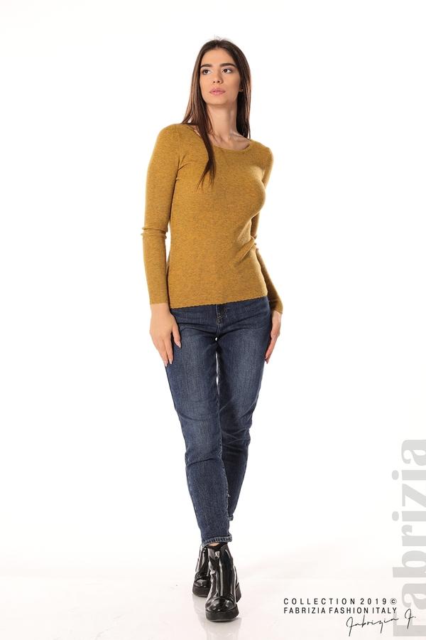 Дамска блуза с обло деколте горчица 2 fabrizia