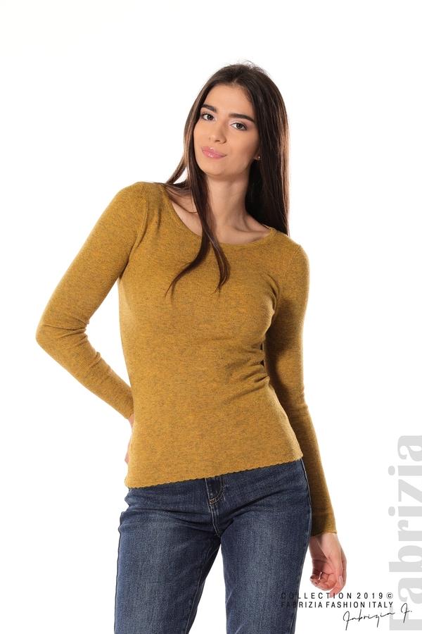 Дамска блуза с обло деколте горчица 1 fabrizia