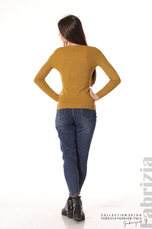 Дамска блуза с обло деколте горчица 3 fabrizia