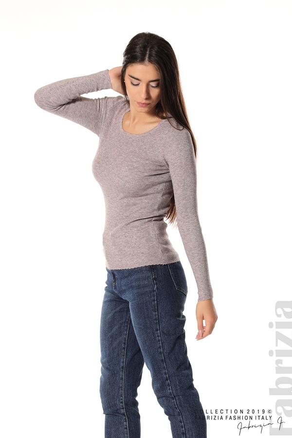 Дамска блуза с обло деколте пепел от рози 3 fabrizia