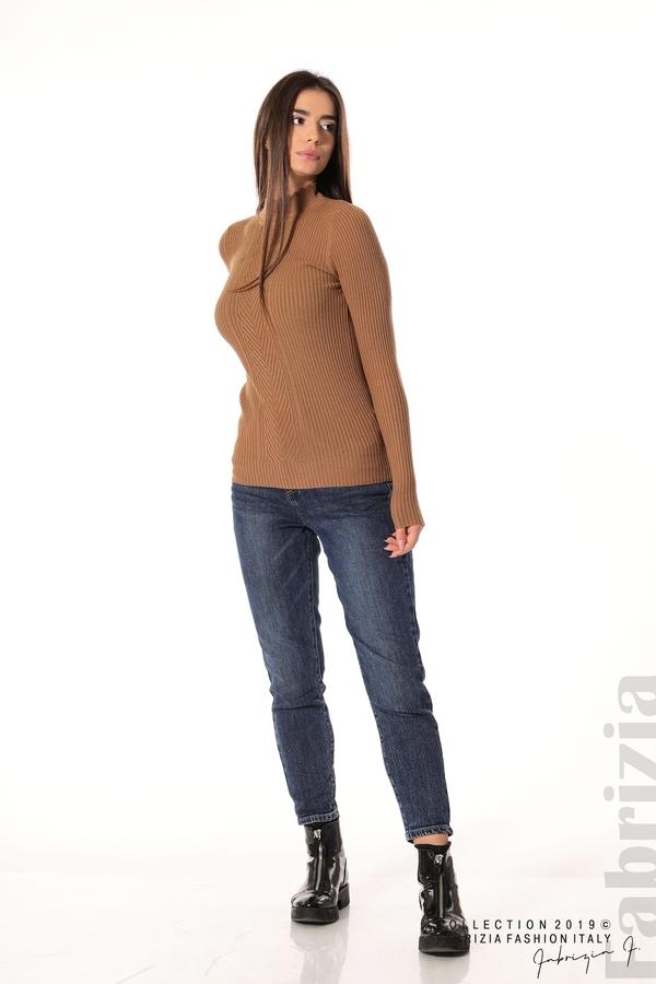 Блуза с елемент кафяв 2 fabrizia