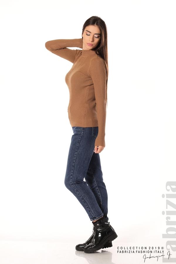Блуза с елемент кафяв 3 fabrizia