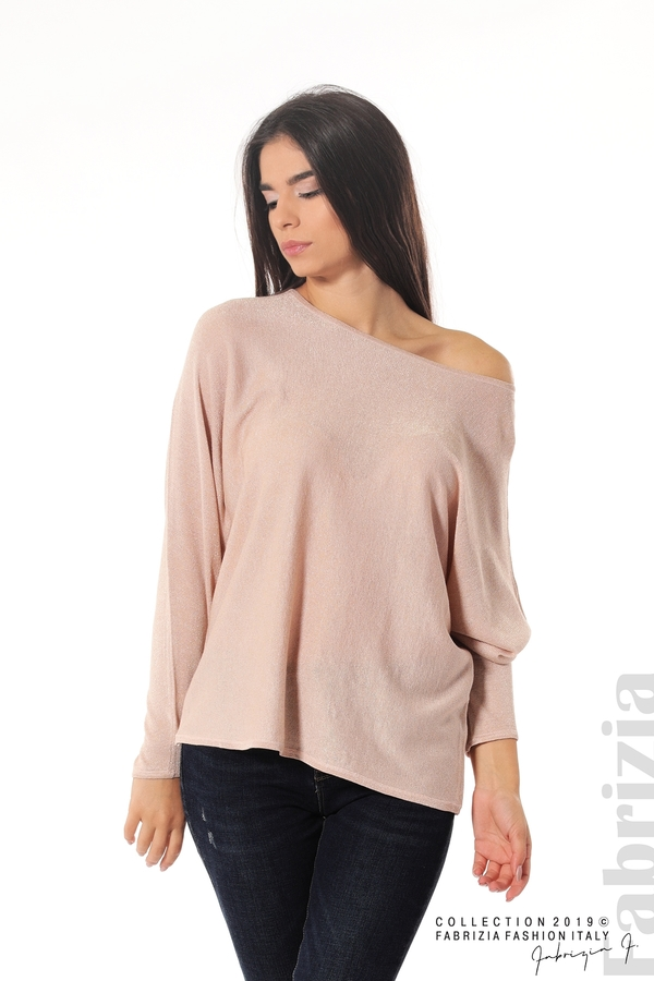 Изчистена блуза с ламе пудра 1 fabrizia