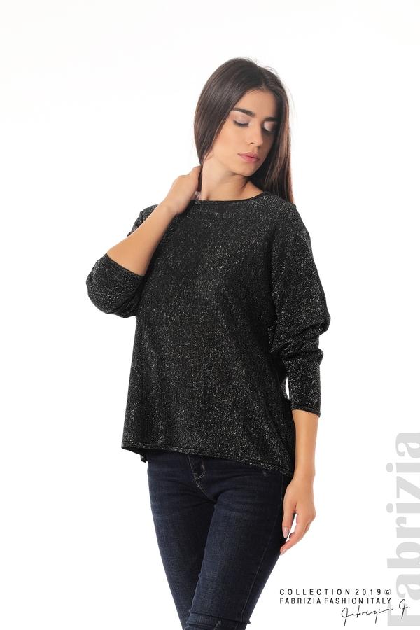 Изчистена блуза с ламе черен 3 fabrizia