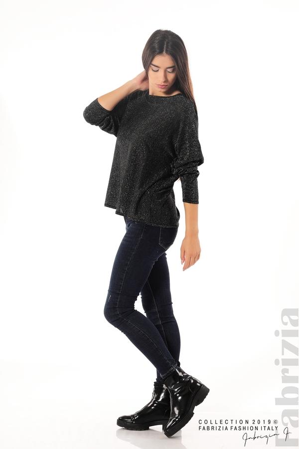 Изчистена блуза с ламе черен 2 fabrizia